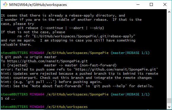 github 提交报错:error: failed to push some refs to 'https://github.com/nanait/SpongePie.git'错误解决方法